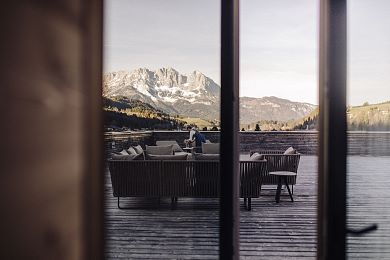 Large sun terrace with views of the mountains