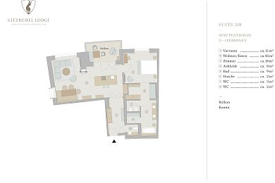 Floor plan penthouse chalet 301 -> for 2 + 1 persons