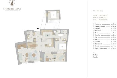 Floor plan penthouse chalet 302 -> for 2 + 2 +1 persons