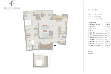 Floor plan lodge 303 -> for 2 + 2 persons