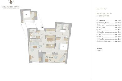 Floor plan penthouse chalet 304 -> for 2 + 2 persons