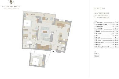 Floor plan penthouse chalet 305 -> for 6 persons