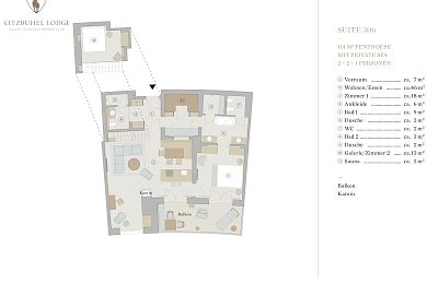 Floor plan lodge 306 -> for 2 + 2 persons