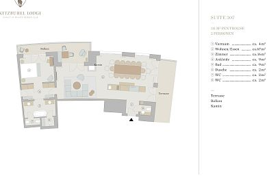 Floor plan penthouse chalet 307 -> for 2 persons