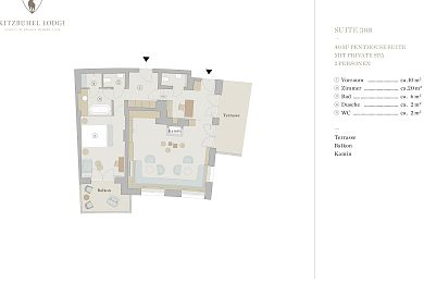 Floor plan penthouse chalet 308 -> for 2 persons