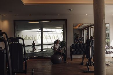 Modern fitness area with a view of the mountains